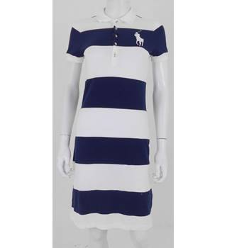 Ralph Lauren Size S/P (UK 10) White & Navy Striped Dress
