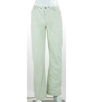 "Ted Baker Jean - Size: 32"" (Ted 3) - White Corduroy - Jeans With Gemstone Waistband"