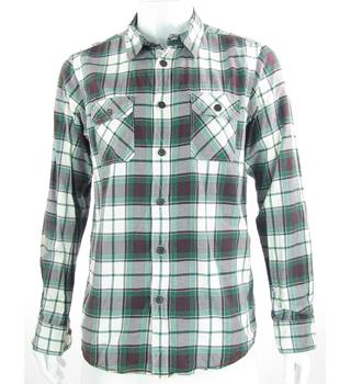 Ben Sherman - Size: L - Green, Red & White Check - Cotton Long Sleeved Shirt