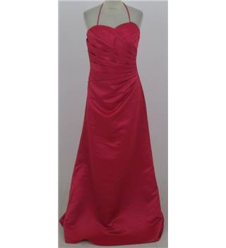 BHS Size: 12 coral-red halter-neck evening dress