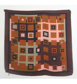 Vintage 1960's Tonal Blush and Mocha Geometric Print 100% Silk Scarf With Rolled Edges