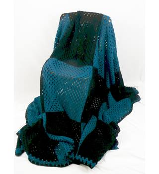 "Hand crochet throw approx 55"" x 125""  black & petrol blue"