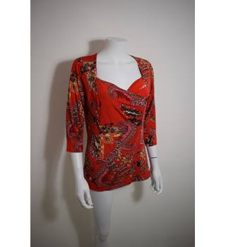 TEXT LARGE RED PAISLEY BLOUSE TEXT - Size: L - Red - Wraparound top