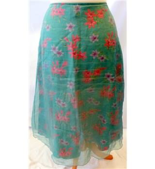 Jigsaw - Size: 12 - Green with Pink Floral Pattern Skirt