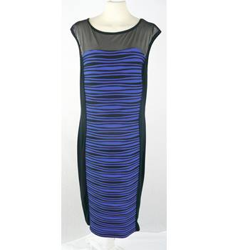 Roman  size 16  black and electric blue dress -  calf length