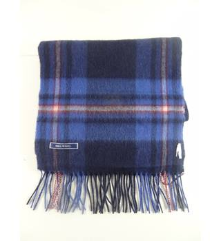 Blue/Navy Checked Wool Scarf