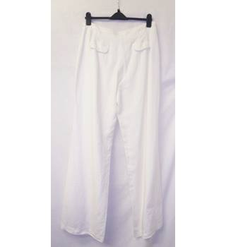 "Per Una - Size: 34"" - Cream White -  Wide-Legged Trousers"