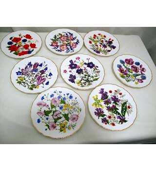 "Royal Albert ""Britain's Wild Flowers"" Plates, Limited Edition by Jo Hague, 8 Plates"