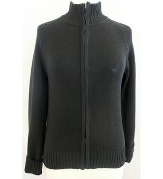 Armani Jeans - Size: M - Black - Full Zip Knit Jumper