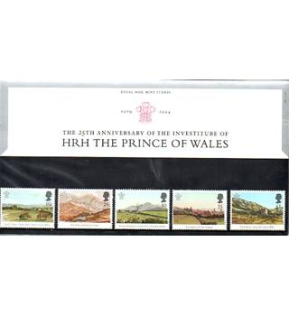 The 25th Anniversary of the Investiture of HRH The Prince Of Wales Royal Mail Mint Stamps