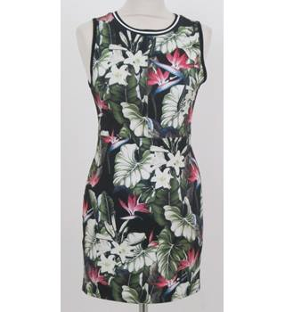Topshop - Size: 10 - Black & White Floral - Sleeveless Dress
