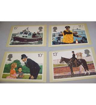 4 Royal Mail Postcards - Police