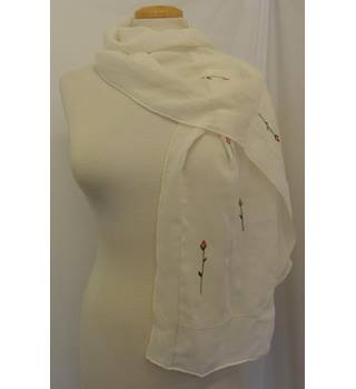 Cream with floral embroidery scarf