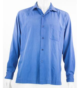 "VintageSt Michael - Size: L (16.5"" collar) - Blue - Long Sleeved  Shirt"