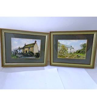 Pair of Vintage Original Watercolours - Small