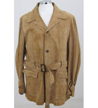 Fink - Size XL - Brown suede Leather coat
