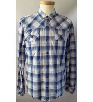 River Island Size M Blue and White Mens Checked Shirt