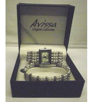 Square watch and Bracelet set, silver & imitation pearls Arissa - Size: Medium - Metallics