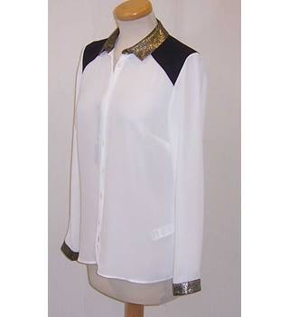 NWOT M&S Collection - Size 10 - Cream with black shoulders Blouse