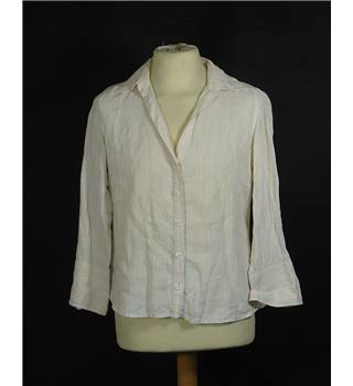 Jaeger - Size 12 - Ivory pink & blue stripped Long sleeved shirt