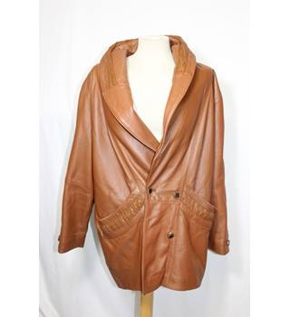 Vintage tan leather 80s jacket size M Unbranded - Size: M - Brown - Leather coat