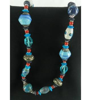 Women blue bead necklace Unbranded - Size: Medium - Multi-coloured - Necklace
