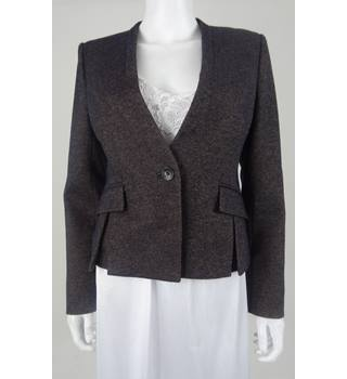 Hobbs Size 10 Navy and Taupe Weave Smart Jacket