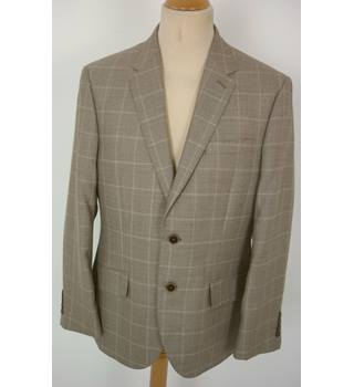 "M & S  Size: M, 40"" chest, regular fit Biscuit Brown Large Check Casual/Stylish Wool Blend Single Breasted Jacket"