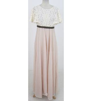 Vintage 80s Richard Shops Size:S cream & cafe-au-lait evening dress