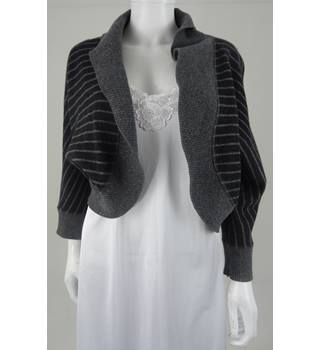 AB Nahlik Size 16 Dark and Light Grey Striped Cardigan