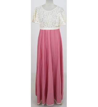 Vintage 80s Richard Shops Size:S cream & raspberry-pink evening dress