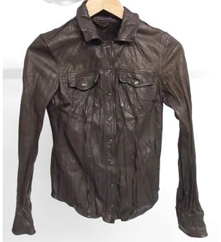 Allsaints Spitalfields Brown Leather shirt Size: uk 6