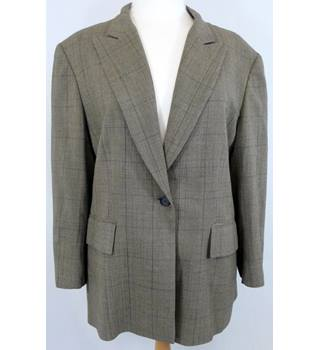 Jaeger - Size: 16 - Brown and Beige Check - Ladies' Smart Jacket