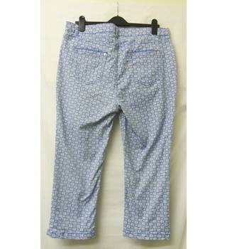 "Per Una - Size: 36"" - Cobalt Blue with white flowers - Regular fit Jeans"