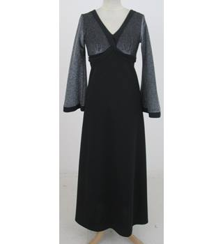 Vintage 70s Richard Shops Size:S black & silver evening dress