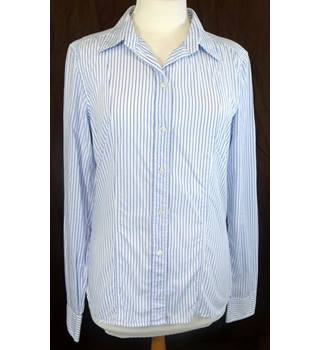 Calvin Klein - Size: 14 - White Blue Striped - Ladies' Long-sleeved Shirt