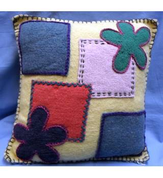 Hand-made Cushion with pad. Hand-stitched in vintage blanket fabric.