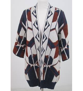 Per Una 10- Ivory blue & brown patterned  cardigan