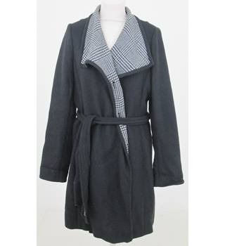 John Lewis: Size 12: Black and grey check collar coat