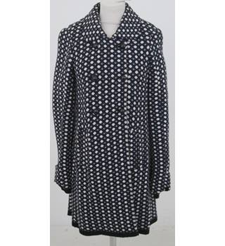 SCEE by Twin-Set: Size S: black, blue & white double breasted coat