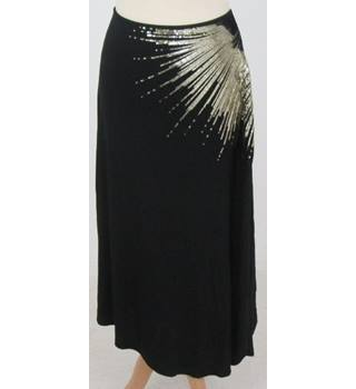 Monsoon - Size: 14 - Black with Gold Sequin Detailing Skirt
