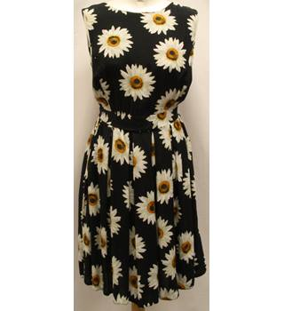 Apricot - Size: 12 - Black with Sunflower Pattern Dress