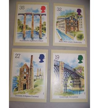 4 royal mail postcards - industrial archaeology