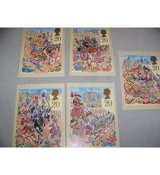 5 royal mail postcards - the lord mayor's show