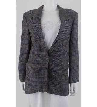 Vintage 80s Margaret Godfrey Bagatelle Size 12 Grey and Multicoloured Check Pattern Blazer