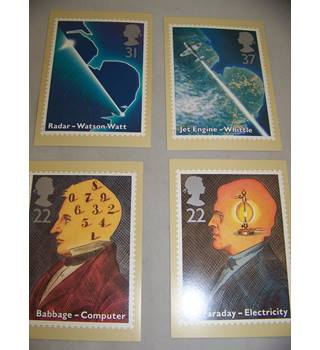 4 royal mail postcards - scientific achievements