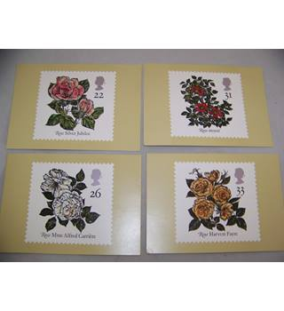 4 royal mail postcards - roses