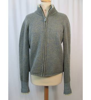Burberry - Size: 12/14 - Grey/blue wool - zip-up Cardigan