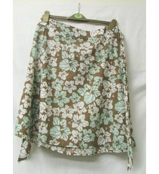 "Didacta - Size: 33"" - Brown with Floral Patterns - Knee length skirt"