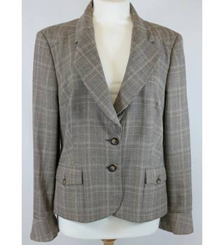 Jaeger - Size: 18 - Brown check wool jacket